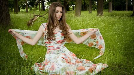 Long summer floral chiffon dress with ruched bodice and scarf, RRP 365 by Gina Bacconi