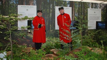 Chelsea Pensioners enjoy the Redwood walk at the Chelsea Flower Show