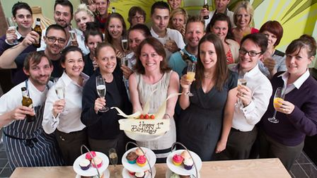 Staff from The Magdalen Chapter enjoying the hotel's birthday celebrations