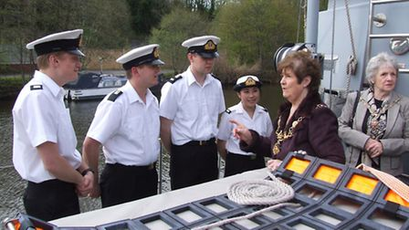 Cllr. Pam Buer, Lord Mayor of Chester and Admiral of the Dee pulls rank on some of the enthusiastic