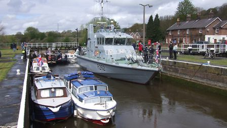 HMS Charger in Saltersford Lock with some of the craft of the supporting escort flotilla