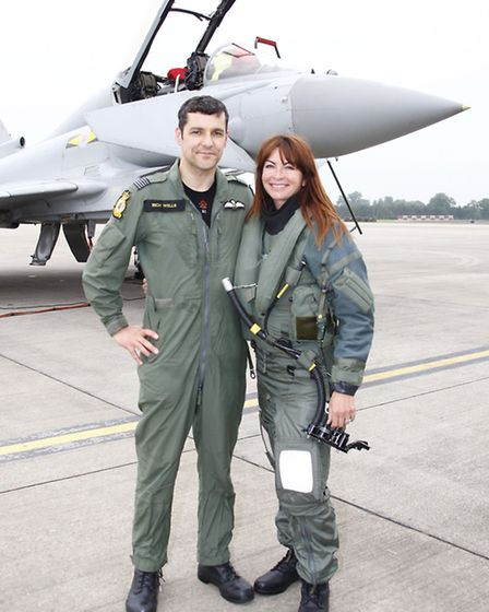 Wg Cdr Richard Wells and Suzi Perry at the launch of this year's Royal International Air Tattoo at R