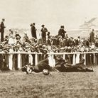 The moments after Emily Davison collides with the King's horse at the Derby