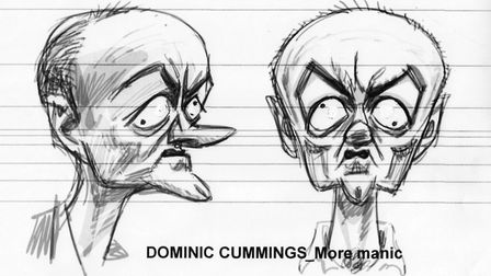 A sketch for the Dominic Cummings puppet for the new series of Spitting Image, which is making a ret