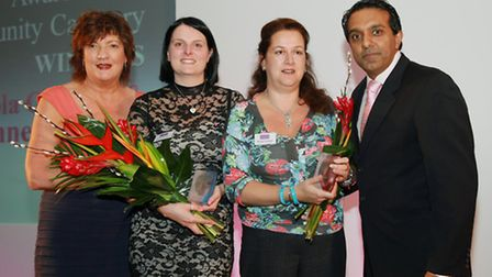 Inspiring Women 2013 Community JOINT WINNERS Joanne Thompson and Nicola Graham flanked by Jacqueli