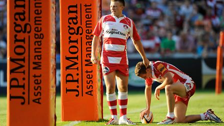 Reece Boughton of Gloucester Rugby 7s (left) congratulates Drew Cheshire of Gloucester Rugby 7s on s
