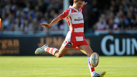 Billy Burns of Gloucester Rugby 7s takes a kick during the J.P. Morgan Asset Management Premiership