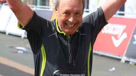Clive crosses the finish line
