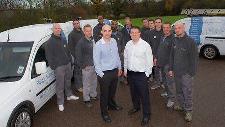 Pictured are the London team with, from left, Simon Stock, London Operation Manager, Jamie Degnin, N