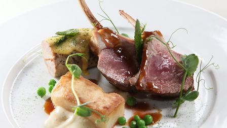 Carved best end and slow cooked scrag of Welsh Texel lamb, celeriacs, mint and peas