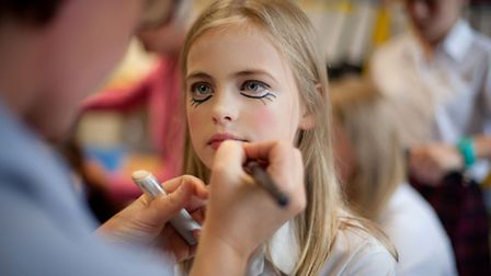 Bugsy Malone dress rehearsal, professional make-up artist at work.
