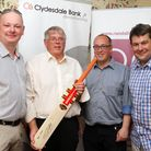 Rob Spearman (Clydesdale Bank), raffle winner David Bowers (MWC Holdings), Ian Selwood (Randall and