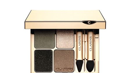 The new Eye Quartet Mineral palette of forest shades of khaki, green, satin taupe, pale gold and int