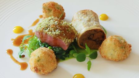 Loin and Shoulder of Lamb, peas, runner beans and mint jelly