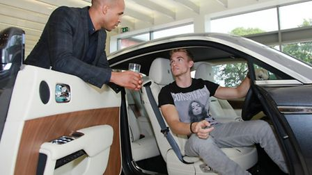 Local racing driver, Ollie Webb behind the wheel the Rolls-Royce's new model The Wraith with Matthew