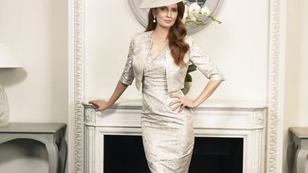 Jacquard lace dress and jacket with embellished collar by John Charles, prices start from RRP 599