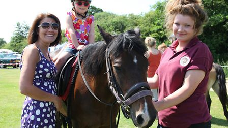 Samantha Rostron with Amber (on Amber the pony) and Alice Westwell