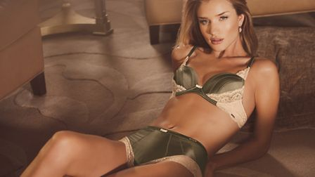 Rosie modelling the silk padded olive bra, 25, and the olive midi-knicker, 12.50