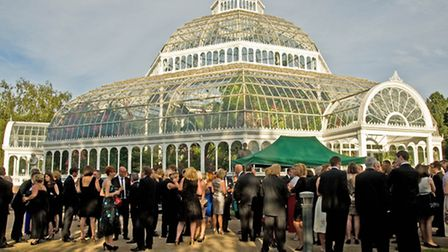 Drinks outside the Palm House