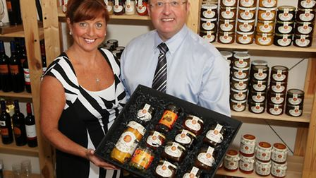 Loretta and Stephen Penketh with a range of products