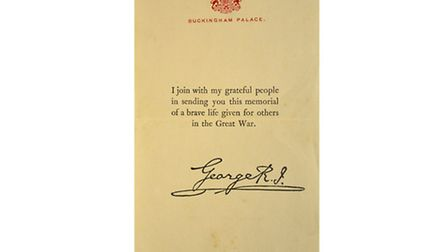 A letter of thanks from King George V