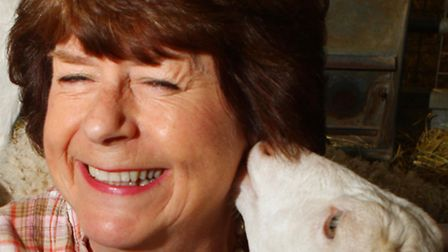 Pam Ayres with one of the goats at Adam Henson's Cotswold Farm Park