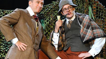 Joe Pasquale in character as Sherlock Holmes with Ben Langley as Dr Watson