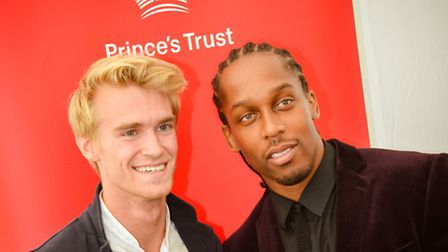 Lemar posing with Knutsford based racing driver Oliver Webb