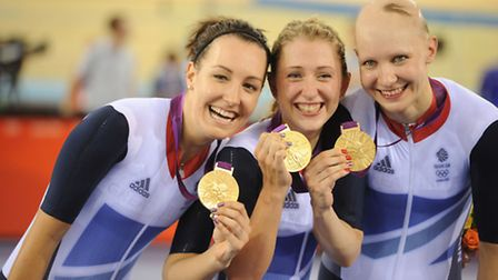 Jo Rowsell celebrating gold with her teammates