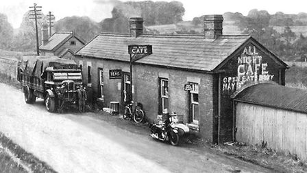 The transport café (and railway booking office) on the A40 in Andoversford, in 1933