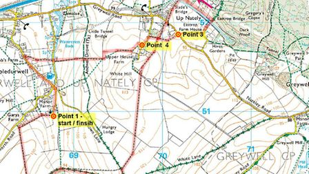 JPEG map showing route of November Walk at Mapledurwell