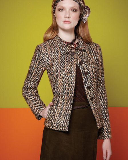 Caroline Charles A/W 13 - Jules tweed jacket, cord skirt and swatch scarf