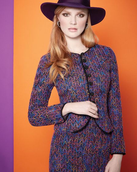 Caroline Charles A/W 13 - Bertha jacket and skirt with purple fedora hat