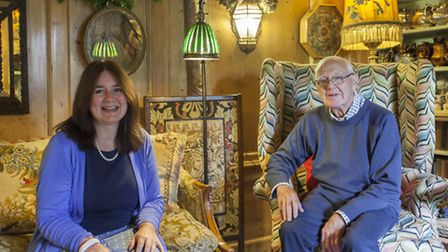 Kate and her father Michael Shinn, in the Drawing Room of their beautiful 17th century home