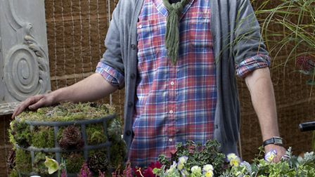 Thomas with some of his potted containers at Petersham Nurseries