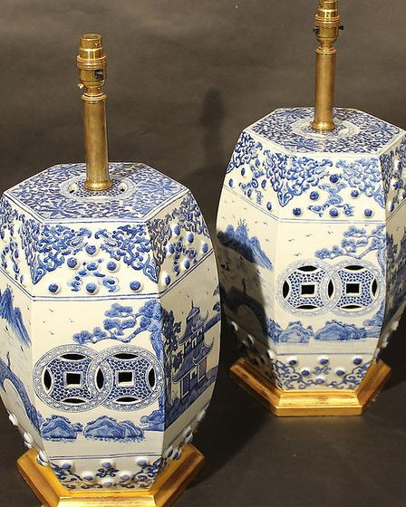 A pair of small circa 1900 Chinese export ware blue and white hexagonal garden seats, converted into