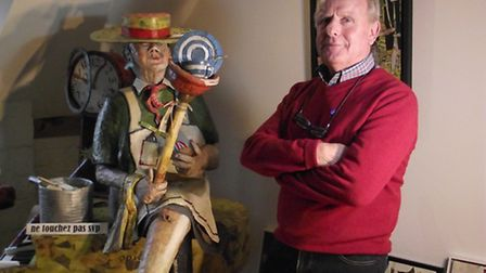 Roger Phillpot with his 'Lady Muck' sculpture at Deerhurst, Gloucestershire