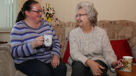 Giggles with a cup of tea, Kerry Pitcher and Vera Hough