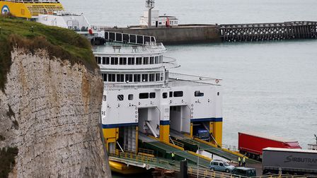 """Cars and trucks exit the DFDS Seaways Newhaven-Dieppe ferry """"Cote d'Albatre"""". Picture: CHARLY TRIBAL"""