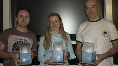 Winners (left to right) Nick Gordon, Carrie Hill and Tom Austin