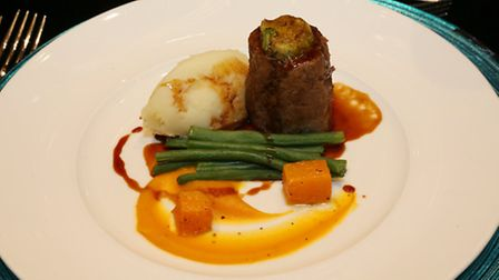 Braised Cheshire reared shin of beef with a bone marrow crumble, mash potato, squash puree and red w