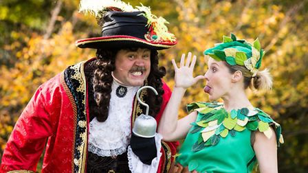Cliff Parisi as Captain Hook and Jessica Punch as Peter Pan, Theatre Royal Bath