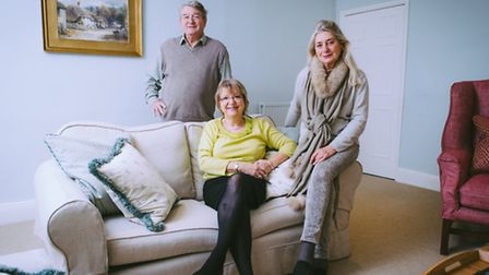 Ken and Ruth Hunt, who run Combe House, with interior designer Meriel Hill, right, in the sitting ro