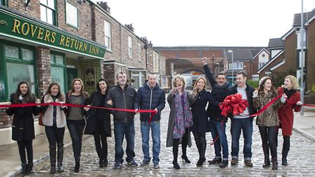 Coronation Street cast members in their new 'home', left to right, Michelle Keegan (Tina McIntyre),