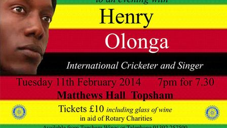 Former Zimbabwean test cricketer Henry Olonga will be at Matthews Hall, Topsham