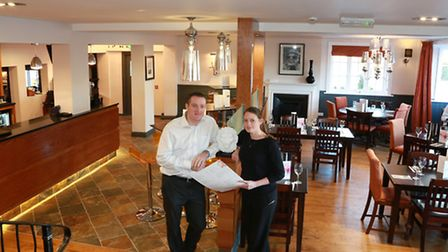 Licensees, Sam Norris and Mark Trotter, at the newly refurbished White Lion at Weston