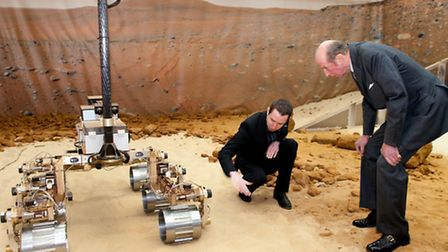 The Duke of Kent being introduced to Bruno - Astrium's ExoMars Rover prototype by engineer Paul Meac