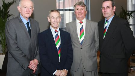 Ray French, M.C., with Merseyside Wooden Spoon committee members, David Matthews, Stan Bagshaw and