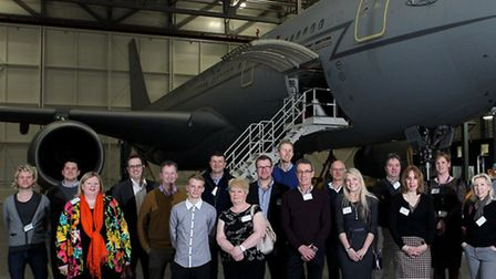 The finalists in the 2014 West Oxfordshire Business Awards pictured in the Air Tankers hanger at RAF