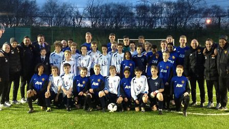 Ivybridge Community College's Football Academy players experience a training session with the Man Un